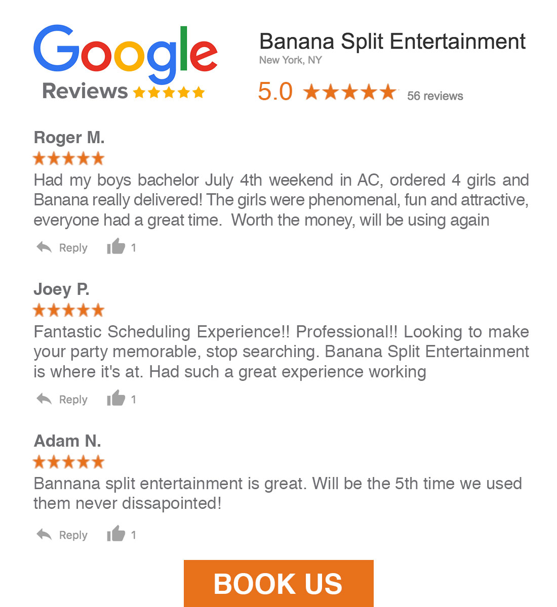Banana Split Entertainment Google Reviews